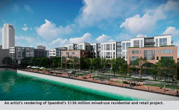 An artist's rendering of Spandrel's $136 million mixed-use residential and retail project.