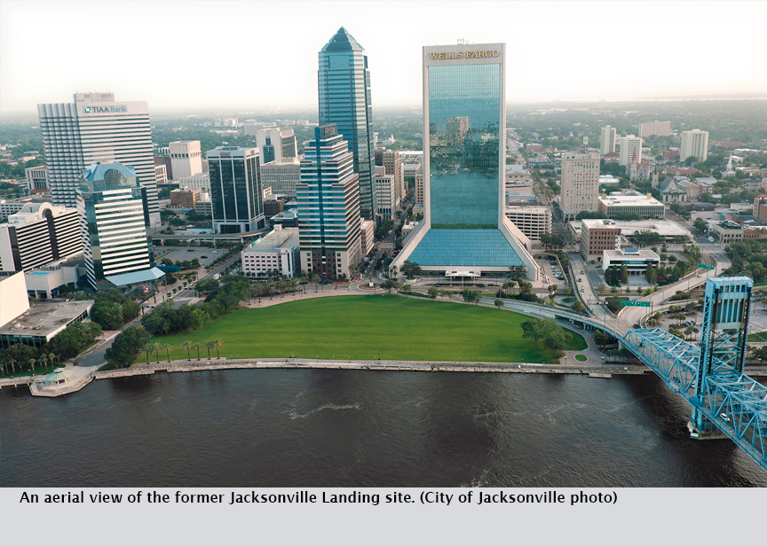An aerial view of the former Jacksonville Landing site. (City of Jacksonville photo)