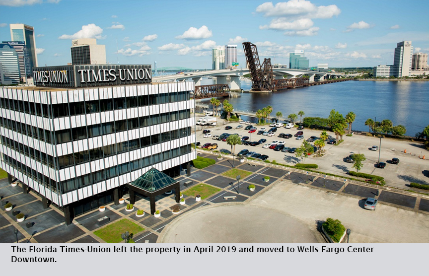 The Florida Times-Union left the property in April 2019 and moved to Wells Fargo Center Downtown.