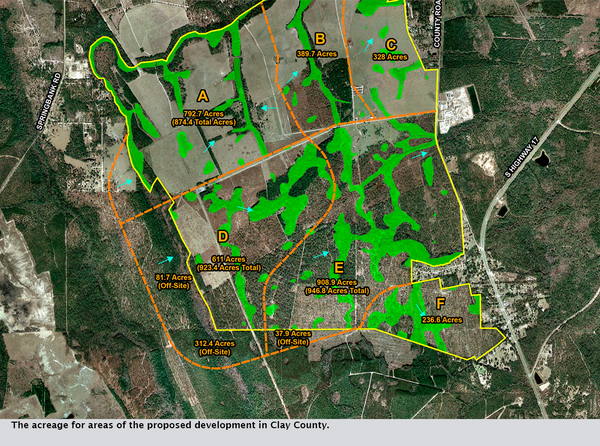 The acreage for areas of the proposed development in Clay County.