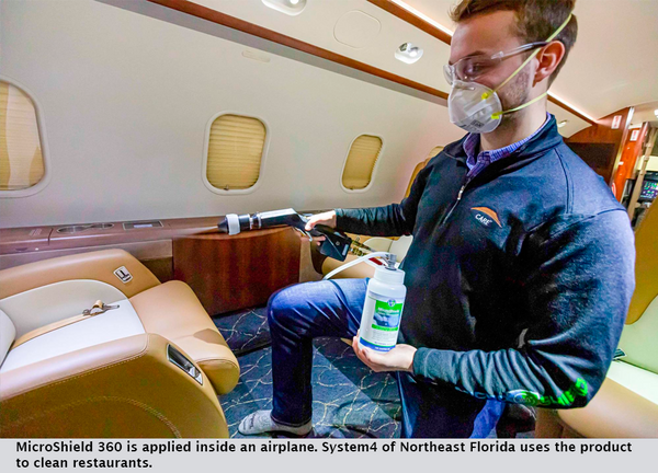 MicroShield 360 is applied inside an airplane. System4 of Northeast Florida uses the product to clean restaurants.