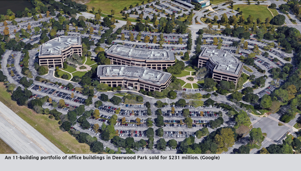 An 11-building portfolio of office buildings in Deerwood Park sold for $231 million. (Google)
