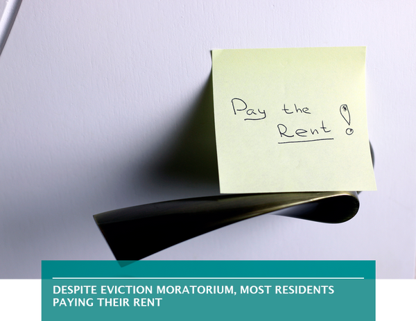 Despite eviction moratorium, most residents paying their rent