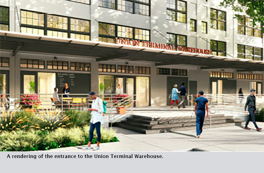 A rendering of the entrance to the Union Terminal Warehouse.
