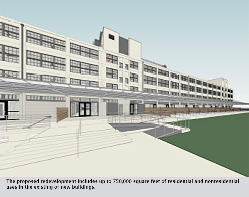 The proposed redevelopment includes up to 750,000 square feet of residential and nonresidential uses in the existing or new buildings.
