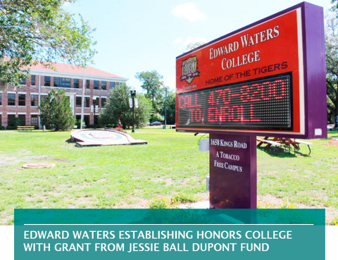EDWARD WATERS ESTABLISHING HONORS COLLEGE WITH GRANT FROM JESSIE BALL DUPONT FUND