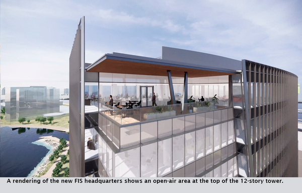A rendering of the new FIS headquarters shows an open-air area at the top of the 12-story tower.