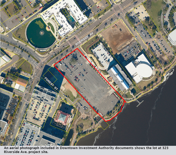 An aerial photograph included in Downtown Investment Authority documents shows the lot at 323 Riverside Ave. project site.