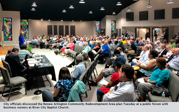City officials discussed the Renew Arlington Community Redevelopment Area plan Tuesday at a public forum with business owners at River City Baptist Church.