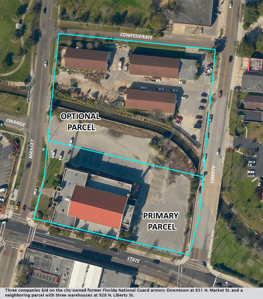 Three companies bid on the city-owned former Florida National Guard armory Downtown at 851 N. Market St. and a neighboring parcel with three warehouses at 928 N. Liberty St.