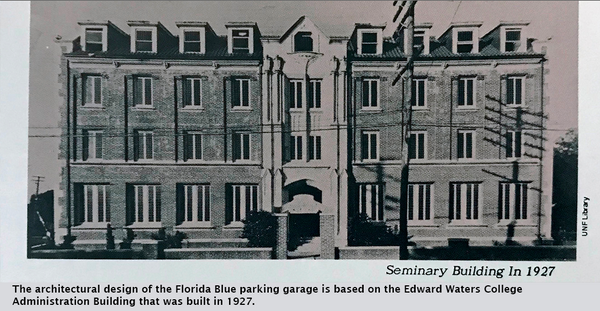 The architectural design of the Florida Blue parking garage is based on the Edward Waters College Administration Building that was built in 1927.