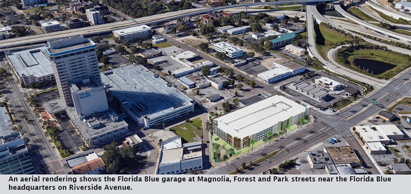 An aerial rendering shows the Florida Blue garage at Magnolia, Forest and Park streets near the Florida Blue headquarters on Riverside Avenue.