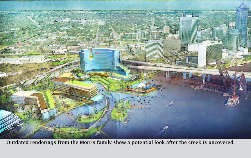 Outdated renderings from the Morris family show a potential look after the creek is uncovered.