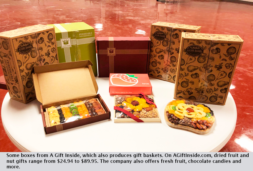 Some boxes from A Gift Inside, which also produces gift baskets. On AGiftInside.com, dried fruit and nut gifts range from $24.94 to $89.95. The company also offers fresh fruit, chocolate candies and more.