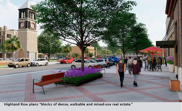 "Highland Row plans ""blocks of dense, walkable and mixed-use real estate."""