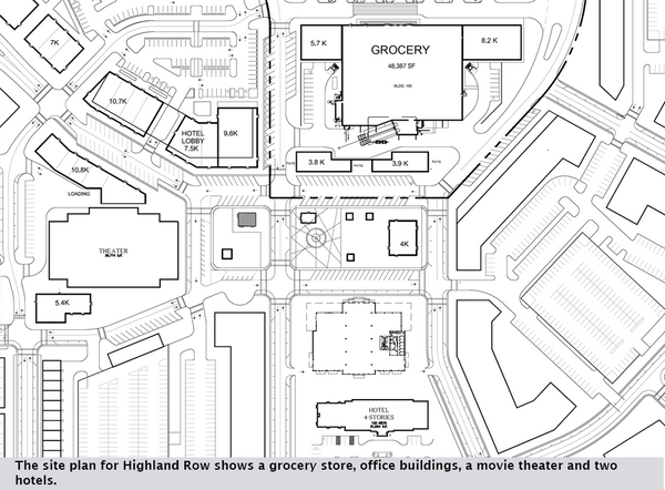 The site plan for Highland Row shows a grocery store, office buildings, a movie theater and two hotels.