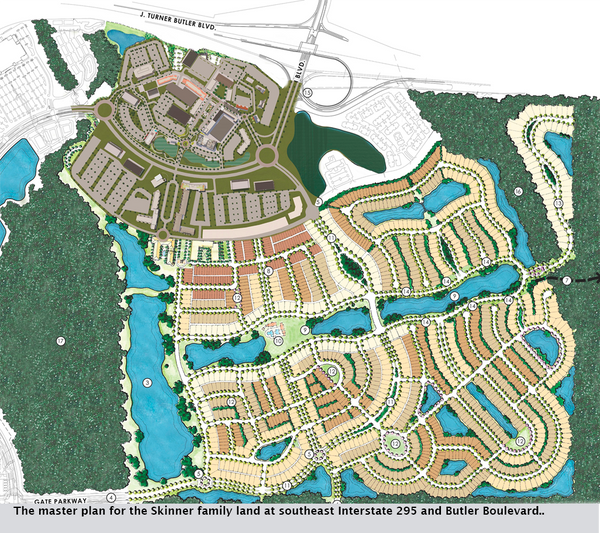 The master plan for the Skinner family land at southeast Interstate 295 and Butler Boulevard..