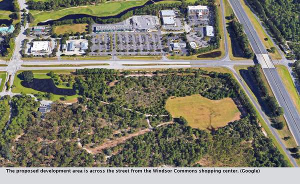 The proposed development area is across the street from the Windsor Commons shopping center. (Google)