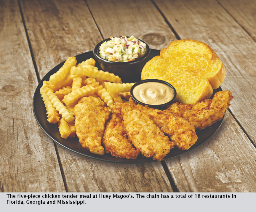 The five-piece chicken tender meal at Huey Magoo's. The chain has a total of 18 restaurants in Florida, Georgia and Mississippi.