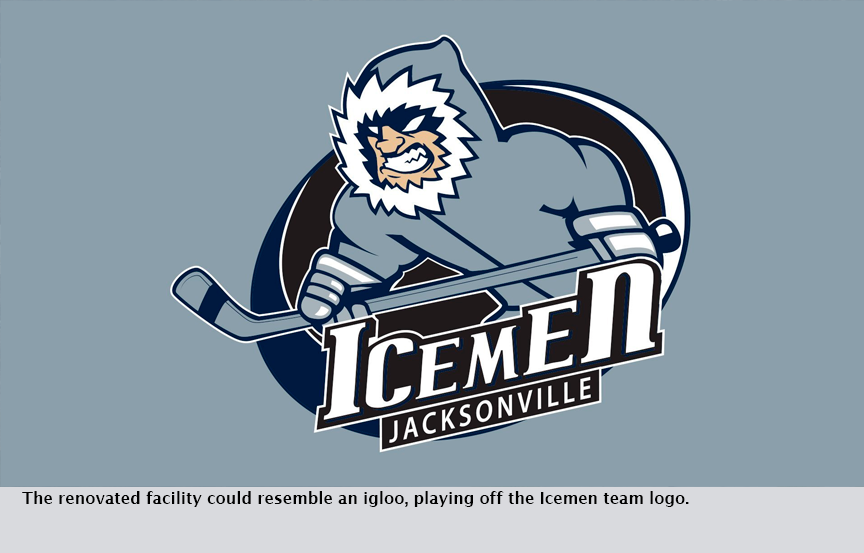 The renovated facility could resemble an igloo, playing off the Icemen team logo.