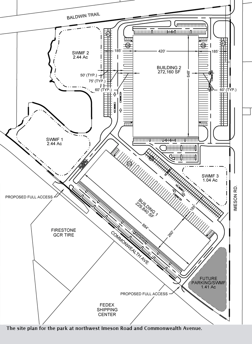 The site plan for the park at northwest Imeson Road and Commonwealth Avenue.