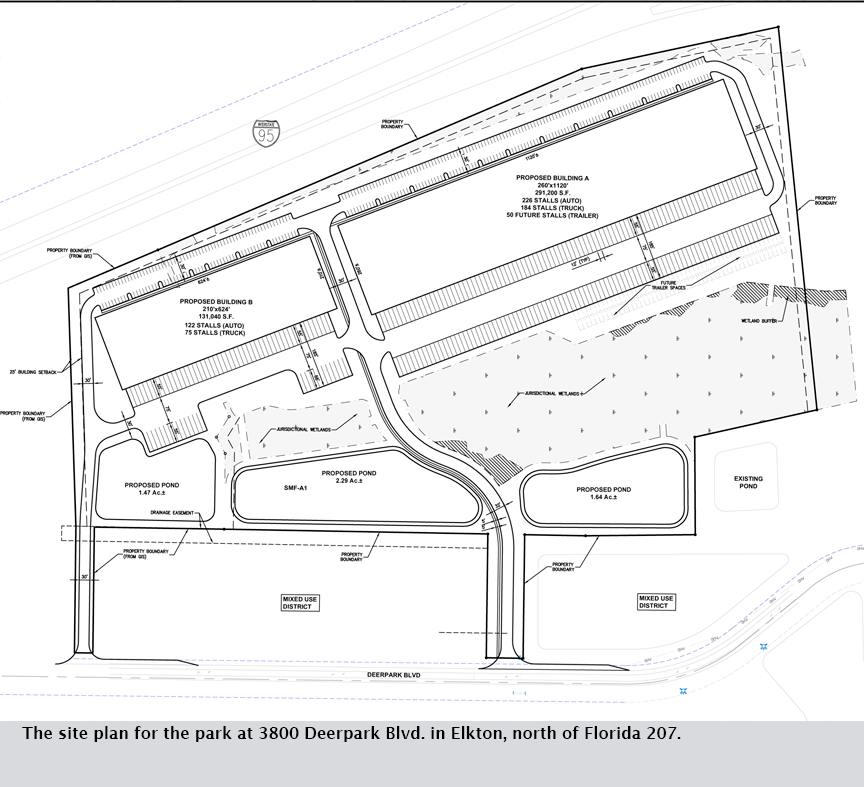 The site plan for the park at 3800 Deerpark Blvd. in Elkton, north of Florida 207.