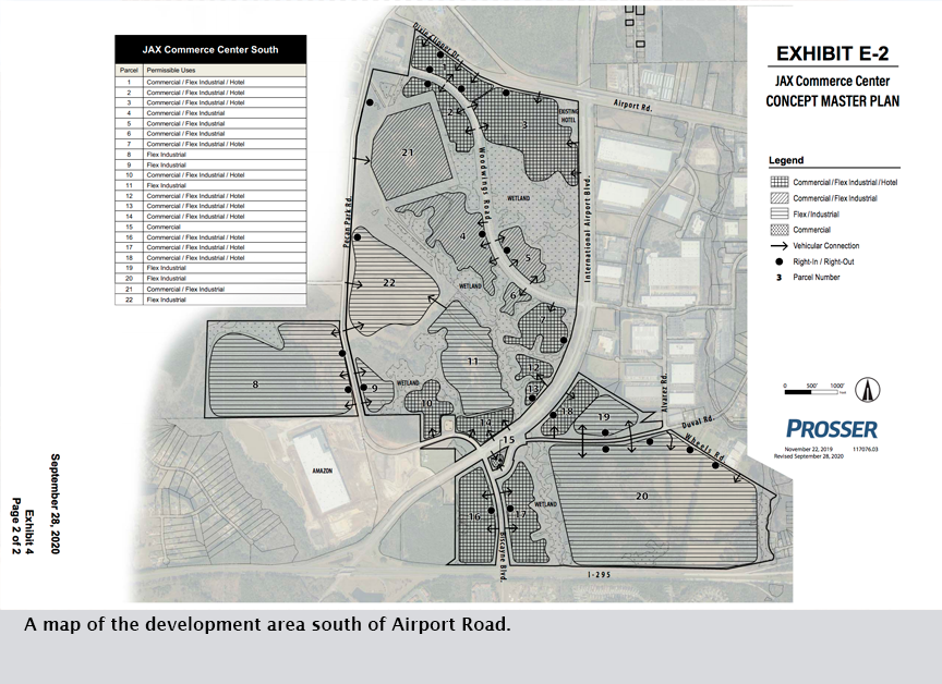A map of the development area south of Airport Road.