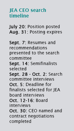 JEA CEO search timeline