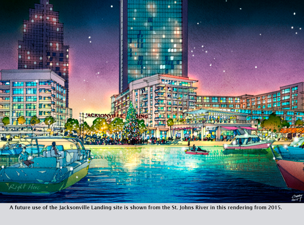 A future use of the Jacksonville Landing site is shown from the St. Johns River in this rendering from 2015.