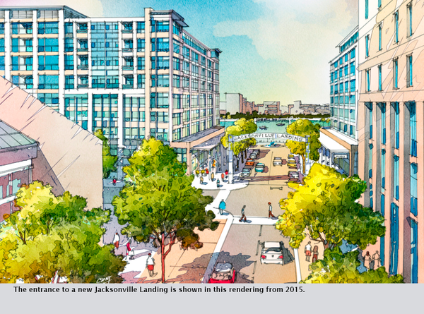 The entrance to a new Jacksonville Landing is shown in this rendering from 2015.