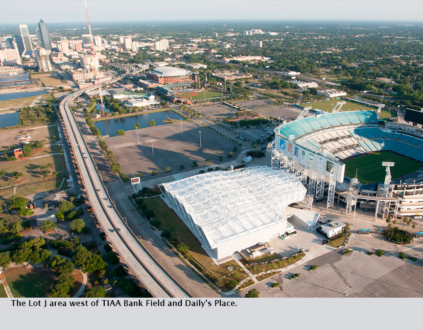 The Lot J area west of TIAA Bank Field and Daily's Place.