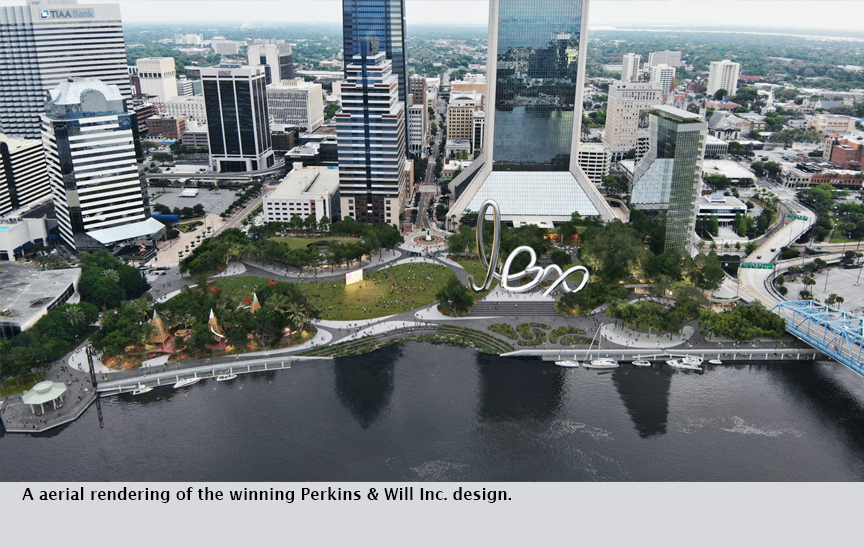 A aerial rendering of the winning Perkins & Will Inc. design.
