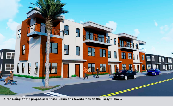 A rendering of the proposed Johnson Commons townhomes on the Forsyth Block