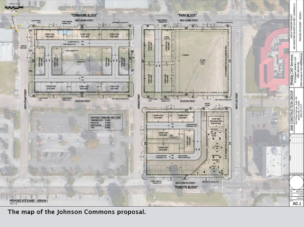 The map of the Johnson Commons proposal.