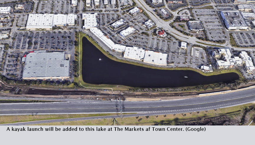 A kayak launch will be added to this lake at The Markets af Town Center. (Google)