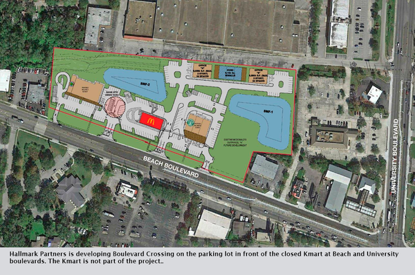 Hallmark Partners is developing Boulevard Crossing on the parking lot in front of the closed Kmart at Beach and University boulevards. The Kmart is not part of the project.