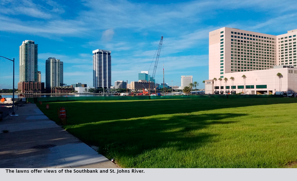 The lawns offer views of the Southbank and St. Johns River.