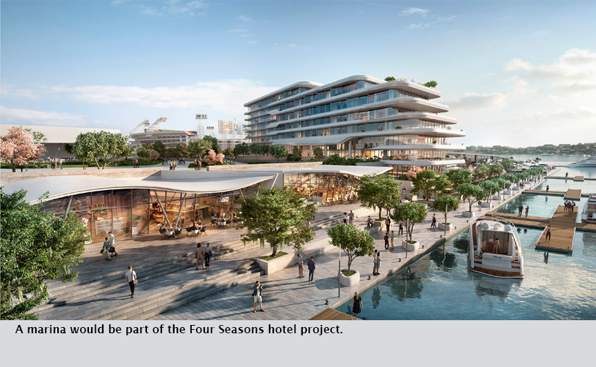 A marina would be part of the Four Seasons hotel project.