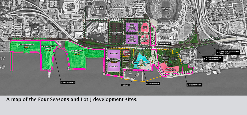 A map of the Four Seasons and Lot J development sites.