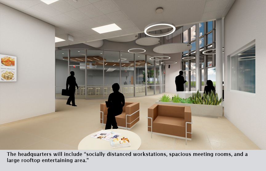 """The headquarters will include """"socially distanced workstations, spacious meeting rooms, and a large rooftop entertaining area."""""""