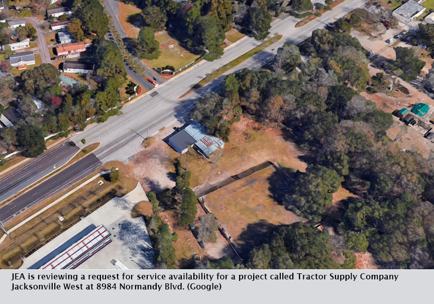 JEA is reviewing a request for service availability for a project called Tractor Supply Company Jacksonville West at 8984 Normandy Blvd. (Google)