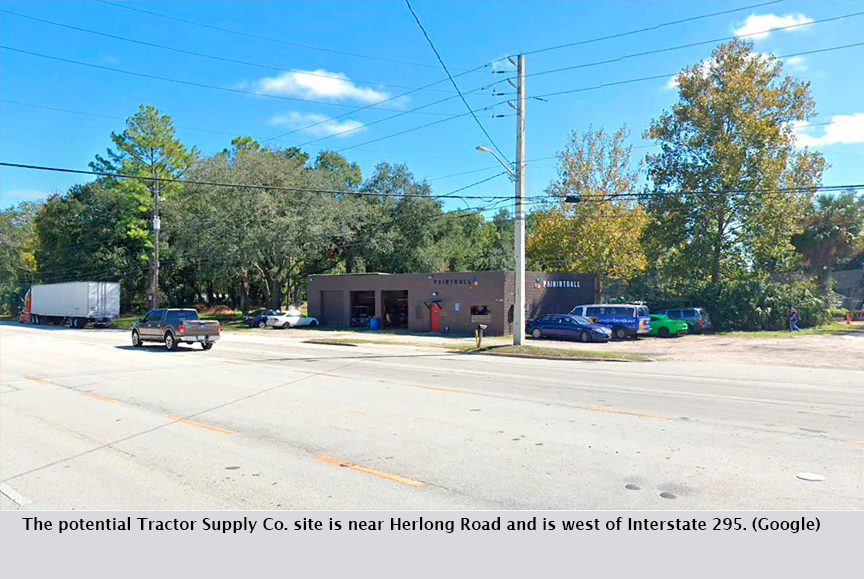 The potential Tractor Supply Co. site is near Herlong Road and is west of Interstate 295. (Google)