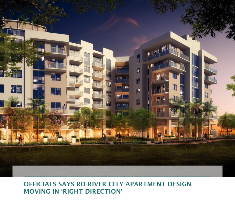 Officials says RD River City apartment design moving in 'right direction'