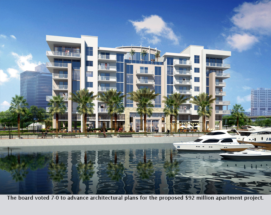 The board voted 7-0 to advance architectural plans for the proposed $92 million apartment project.