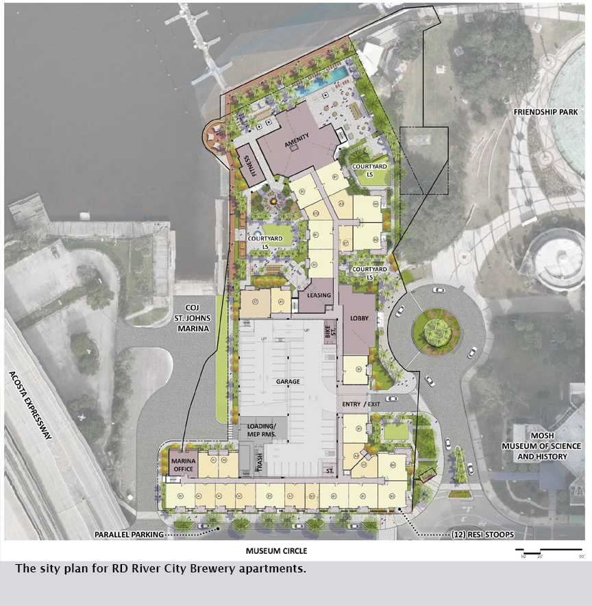 The sity plan for RD River City Brewery apartments.