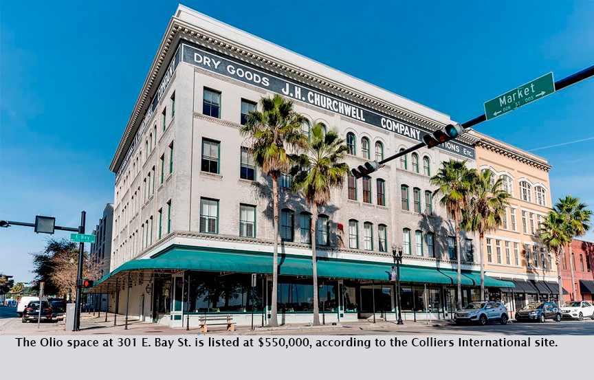 The Olio space at 301 E. Bay St. is listed at $550,000, according to the Colliers International site.