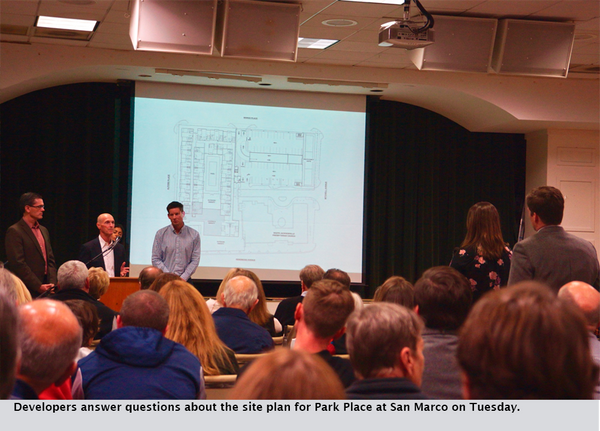 Developers answer questions about the site plan for Park Place at San Marco on Tuesday.