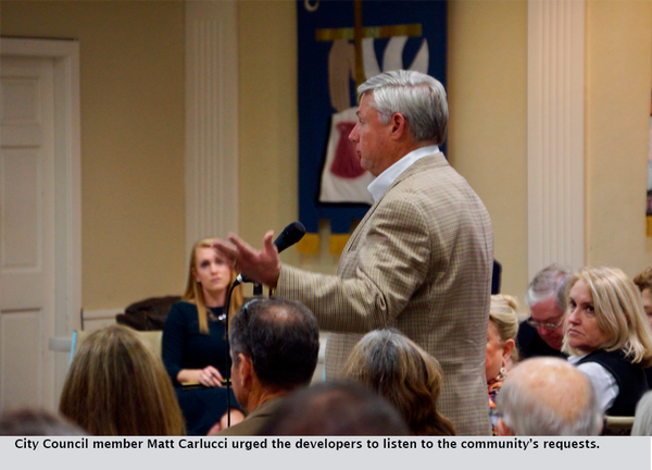 City Council member Matt Carlucci urged the developers to listen to the community's requests.