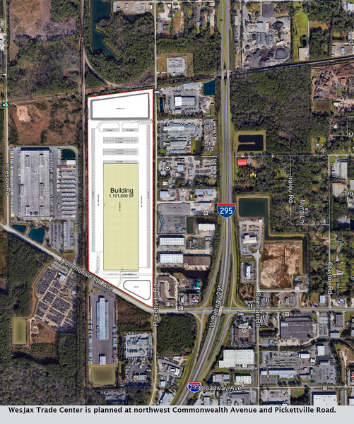 WesJax Trade Center is planned at northwest Commonwealth Avenue and Pickettville Road.