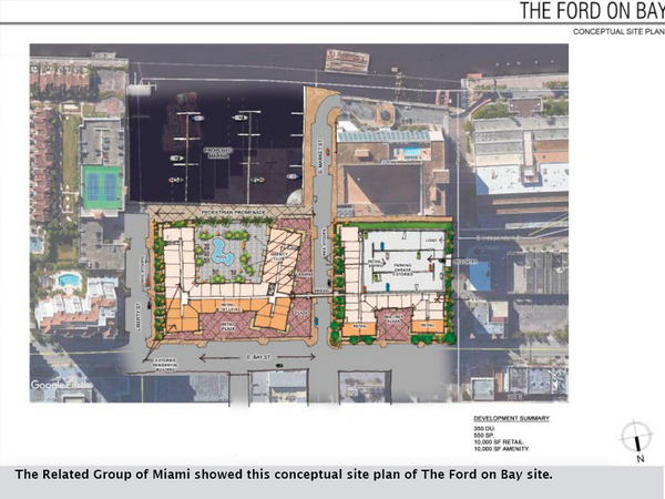 The Related Group of Miami showed this conceptual site plan of The Ford on Bay site.